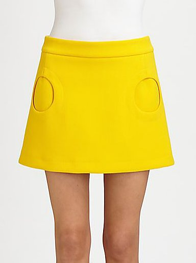 How darling is this Michael Kors yellow circle-pocket miniskirt ($695)? The price is high, sure, but so worth it just for its uniqueness.