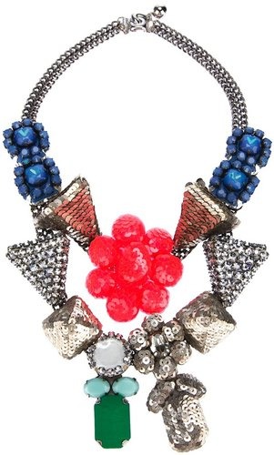 Shourouk Fluo Pink Flower Necklace