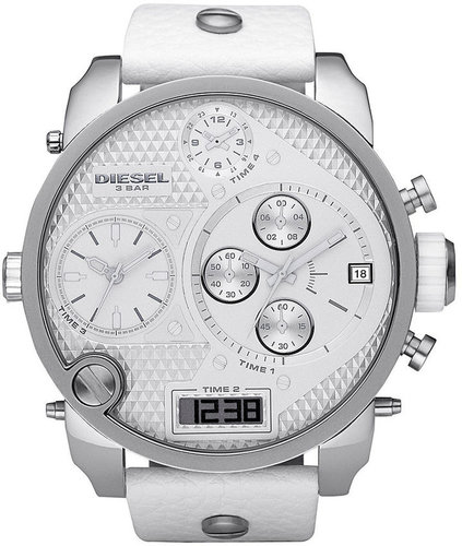 Diesel Watch, Chronograph White Leather Strap 65x57mm DZ7194