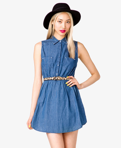 FOREVER 21 Bolt Studded Denim Dress