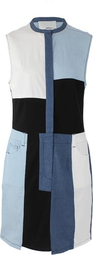 3.1 PHILLIP LIM Crewneck Denim Patchwork Dress