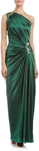 Tadashi Shoji One-Shoulder Jewel-Detail Satin Gown