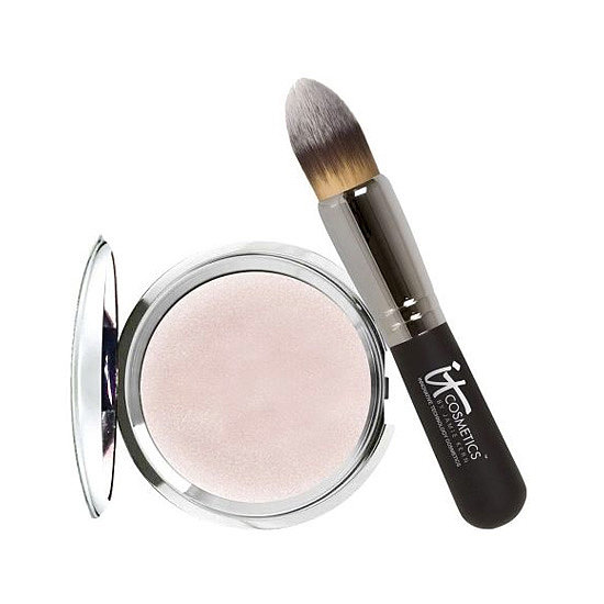 "Faking a full night's sleep is a reality with It Cosmetics' Hello Light Creme Luminizer ($35). The satiny, lightweight formula glides on like silk, leaving behind a lit-from-within glow. Use the included tapered brush on the cheekbones, bridge of the nose, and inner corners of the eyes for an ""I slept eight hours"" effect. — Jaime Richards"