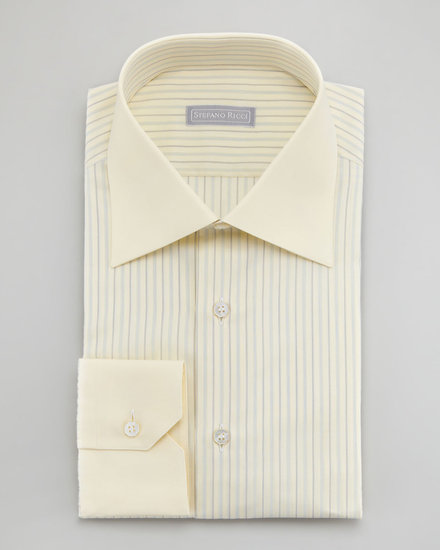 Stefano Ricci Contrast-Collar Striped Dress Shirt, Yellow 100