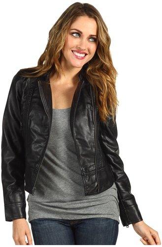 Calvin Klein Jeans Petite - Petite Faux Leather Moto Jacket (Black) - Apparel