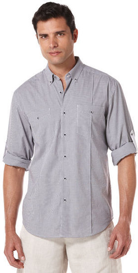 Slim Fit Long Sleeve Cotton Gingham 2 Pocket Shirt