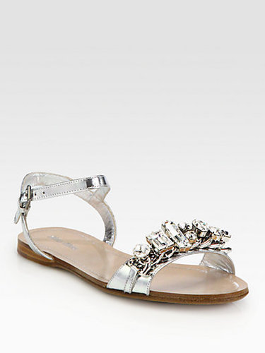 Miu Miu Jeweled Capretto Lame Metallic Leather Sandals