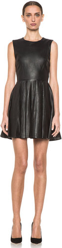 Diane von Furstenberg Jeannie Leather Dress in Black & Black