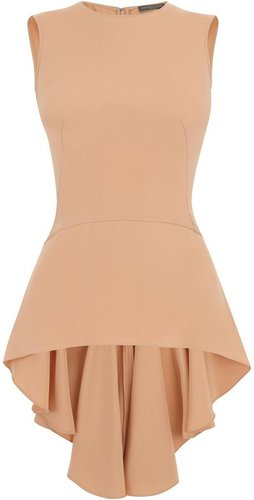 Blush Drape Silk Peplum Top