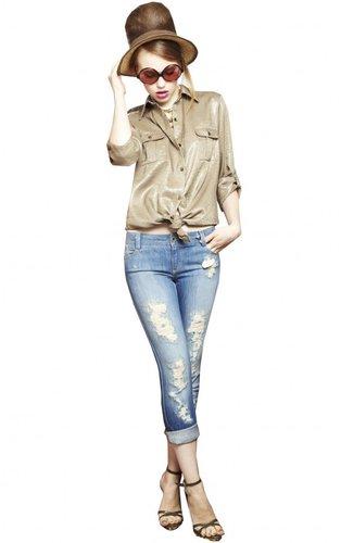 Distressed 5 Pocket Rolled Cuff Jean