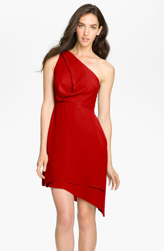 BCBGMAXAZRIA One Shoulder Asymmetrical Chiffon Dress