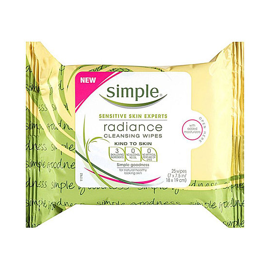 Kick dull skin to the curb with Simple's  Radiance Cleansing Wipes ($6). Formulated with sensitive complexions in mind, glycerin helps to hydrate skin and mango extract assists in removing dirt, makeup, and oils.