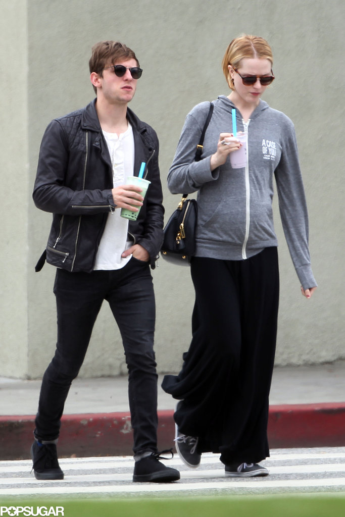 Pregnant Evan Rachel Wood showed off her baby bump with Jamie Bell by her side.