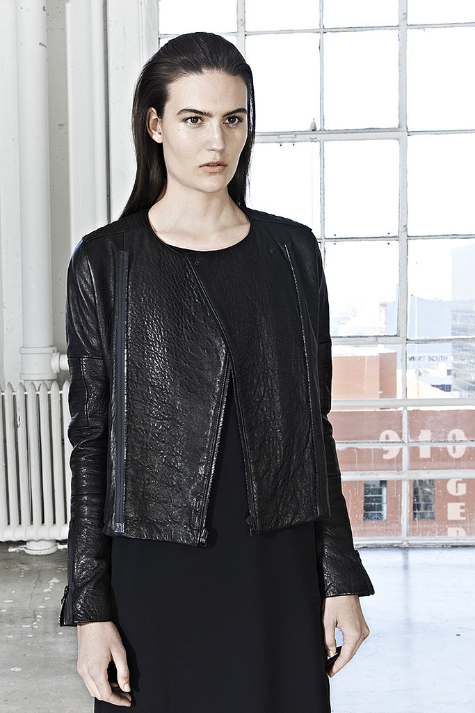 We love the dyed lamb leather on this jacket and its streamlined silhouette.