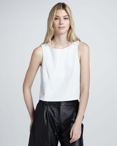 Tibi Perforated Leather Crop Top