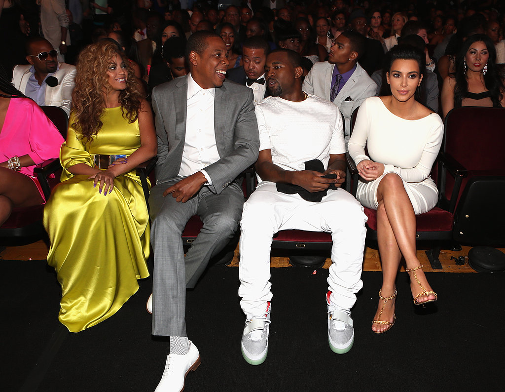 For the 2012 BET Awards, Beyoncé chose a bright Stéphane Rolland gown and Jay-Z sported a gray suit — and shared the front row with Kanye West and Kim Kardashian.