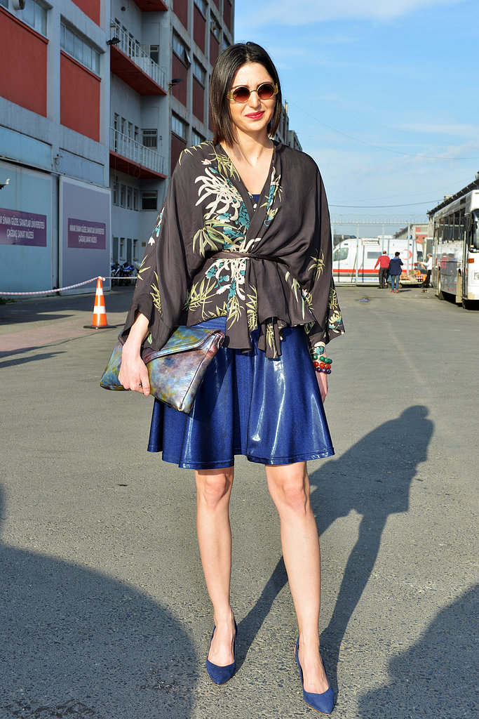 A touch of Spring leather in a bold cobalt blue juxtaposed this kimono-inspired top with cool-girl edge.