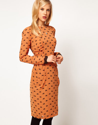 ASOS Midi Dress In Swan Print
