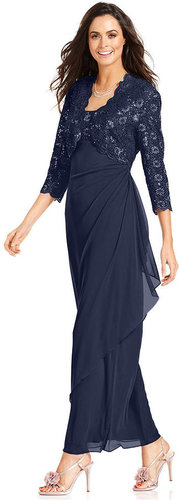 Alex Evenings Dress and Jacket, Sleeveless Sequined Lace Gown