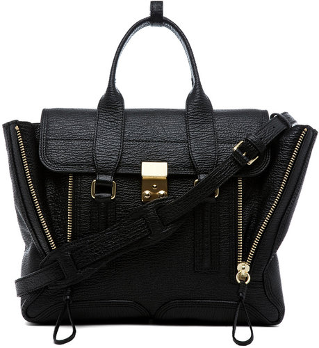 3.1 phillip lim Medium Pashli Shark Embossed Satchel in Black
