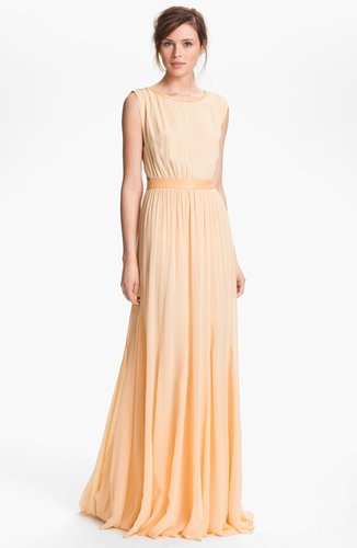 Alice + Olivia 'Triss' Leather Trim Maxi Dress