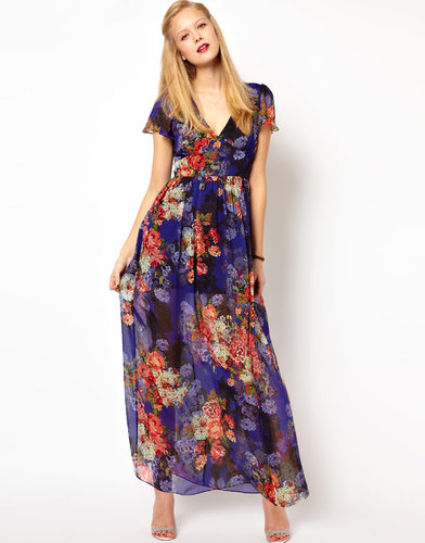 ASOS Maxi Dress In Vintage Floral Print With 70's Sleeve