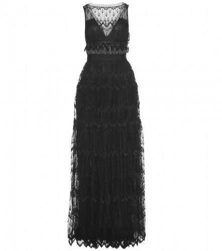 Nina Ricci TIERED LACE GOWN