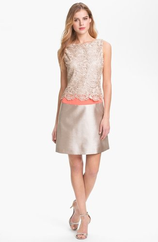 Eliza J Metallic Lace & Satin Dress