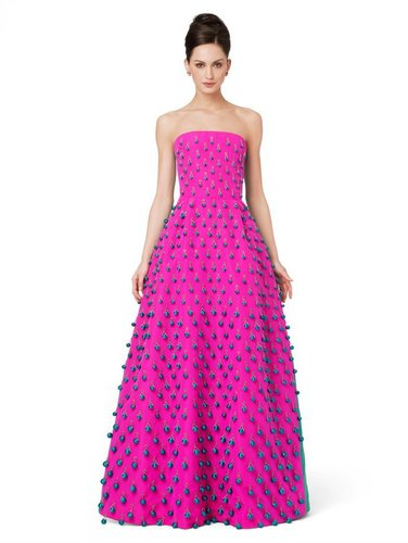 Strapless Ball Gown With Tassel Embroidery