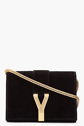 SAINT LAURENT Black suede and gold logo purse