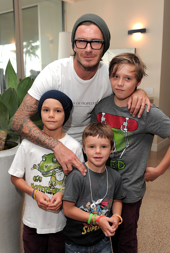 David Beckham brought Brooklyn, Romeo, and Cruz to LA's Xbox 360 Kinect launch party in October 2010.