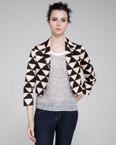 Kelly Wearstler Tanzanite Printed Cropped Blazer