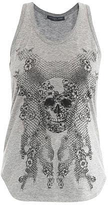 Alexander McQueen Honeycomb lace skull-print tank top