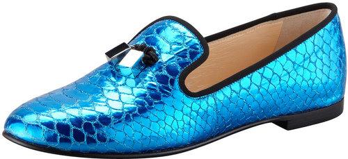 Giuseppe Zanotti Snake-Print Smoking Slipper, Blue