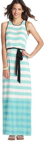 Stripe Belted Tank Maxi Dress