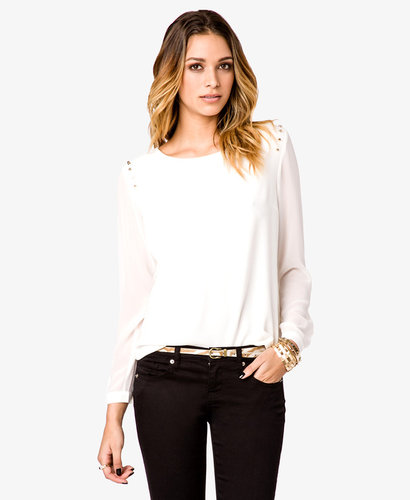 FOREVER 21 Crepe Woven Studded Top