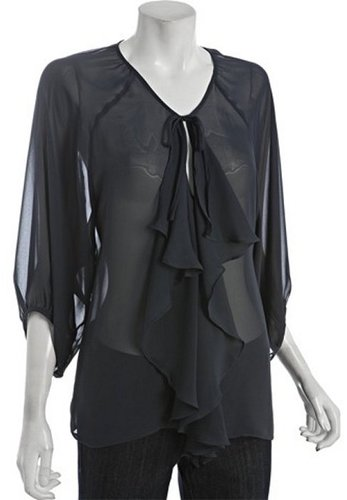 Wyatt blue chiffon ruffle blouse