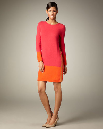 Magaschoni Colorblock Long-Sleeve Cashmere Dress