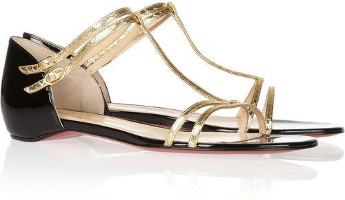 Christian Louboutin Arnold metallic watersnake and patent-leather sandals