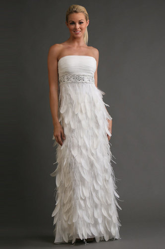 Sue Wong Antique Beaded Empire Feather Gown