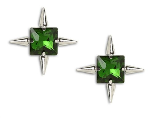 Emerald Spike Studs
