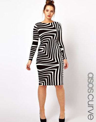ASOS CURVE Body-Conscious Dress In Geo Mono Print