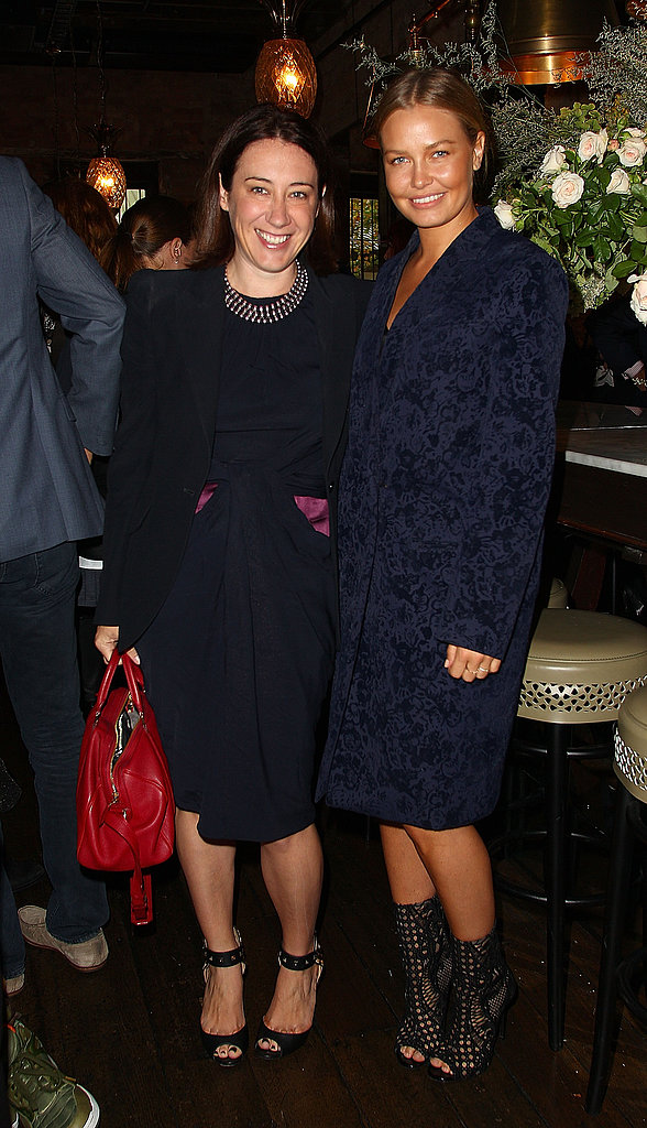 Edwina McCann with Lara Bingle at Rebecca Vallance's Spring/Summer 2013 season launch in Sydney.