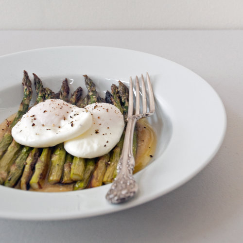 Roasted Asparagus With Miso Butter and Poached Eggs