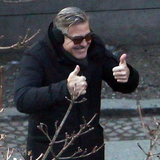 George Clooney Gives Thumbs-Up on Set of The Monuments Men