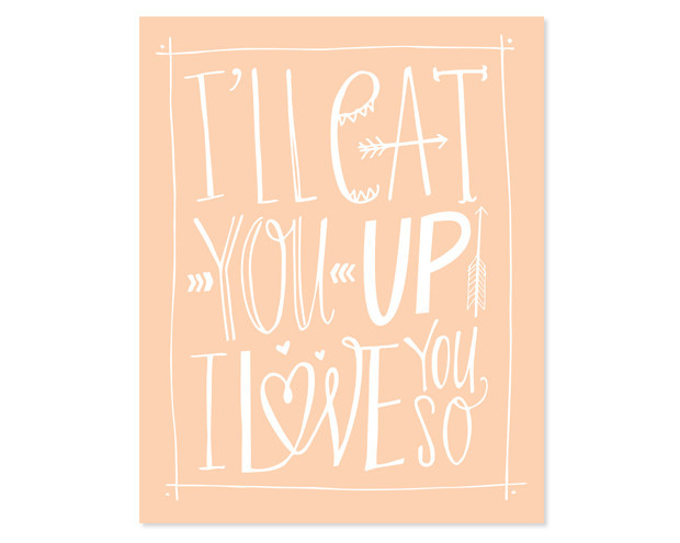 Inspired by a line from Where the Wild Things Are, this I'll Eat You Up canvas ($75-$200) is available in three sizes and four color combos.