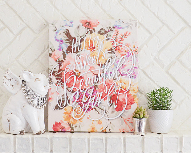 This Hello, Sweet Beautiful Girl! design ($75-$200) comes on a vintage floral background or on a solid background. Each is available in three sizes.