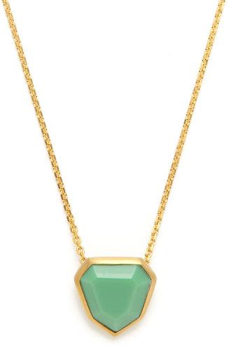 Mini Mint Green Hexagon Pendant Necklace