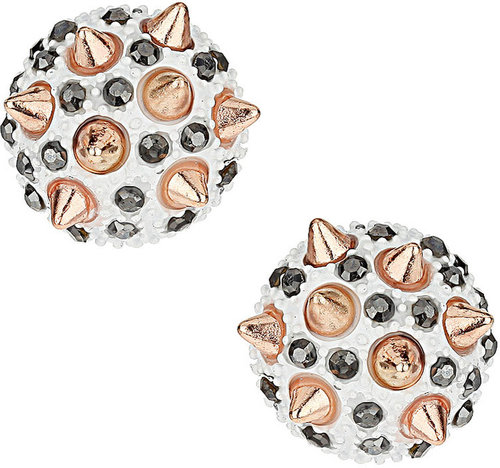 Spike Stone Dome Stud Earrings
