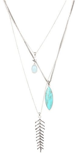 Lucky Brand - Gypsy Romance Fern Triple Drop Necklace (Silver) - Jewelry